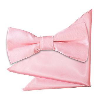 Baby Pink vanlig satin bow tie & Pocket Square sett for gutter