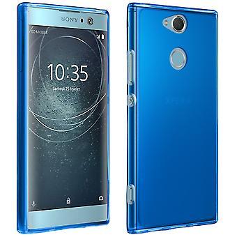 Capa de silicone, brilhante e fosco contracapa para Sony Xperia XA2 - azul