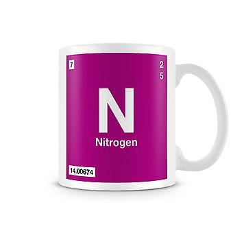 Wetenschappelijke bedrukte mok Featuring Element symbool 007 N - stikstof