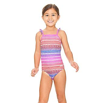 Zoggs Ikat Frill Classic back Swimsuit in Pink / Multi Colour with a High Neckline
