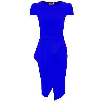 Ladies Cap Sleeve Asymmetric Half Peplum Women's Knee Length Bodycon Dress