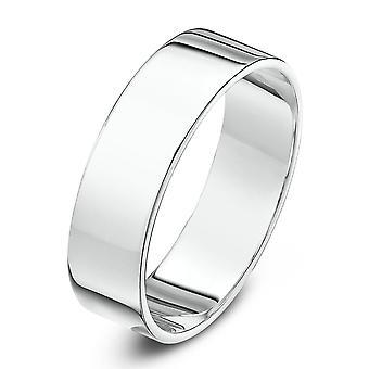Star Wedding Rings 9ct White Gold Heavy Flat Shape 6mm Wedding Ring