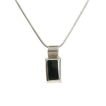 Cavendish franske Sterling sølv Rectangled sort agat vedhæng uden kæde