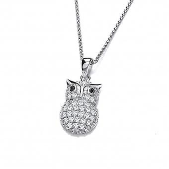 Cavendish French Silver and Sparkles Owl Pendant without Chain