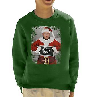 Christmas Mugshot Prince Harry Beard Kid's Sweatshirt