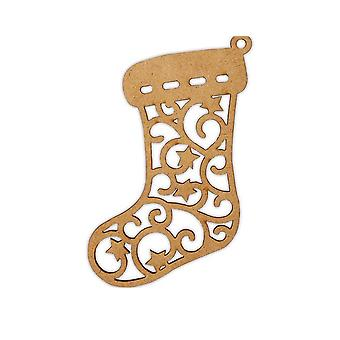 Wooden Christmas Stocking 12cm Bauble Shape to Decorate