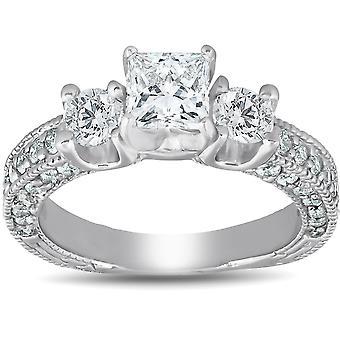 2 1 / 4ct Corte Princesa 3 piedra mejorado Vintage anillo de compromiso diamante 14K
