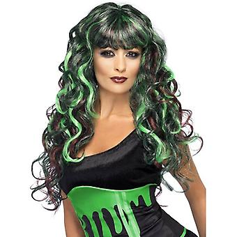 Long Black & Green Curly Wig, Blood Drip Monster Wig, Halloween Accessory