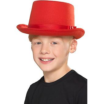 Kids Top Hat Red, Boys Fancy Dress, One Size