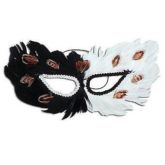 Feather Eye Mask. Black/White.
