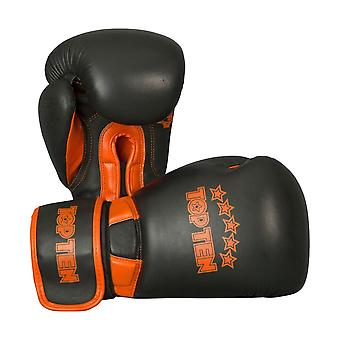 Top Ten élite double gants de boxe Noir/Orange 12oz