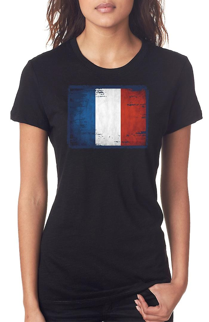 Francese Francia Grunge Tricolore Flag Ladies T Shirt
