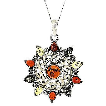 The Olivia Collection Sterling Silver Round Celtic Amber Pendant on 18