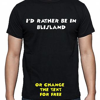 I'd Rather Be In Blisland Black Hand Printed T shirt