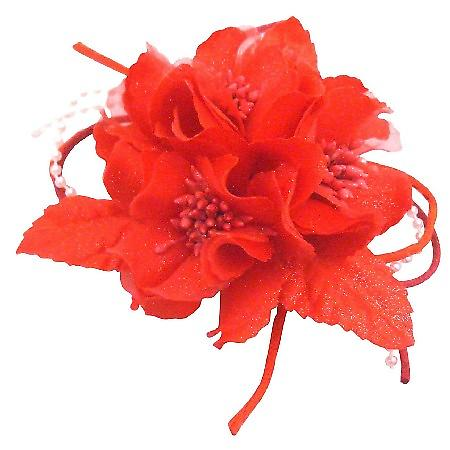 Magical Ethereal Red Fabric Flower Brooch Hair Pin Decorated w/ Pollen