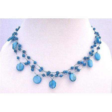 Turquoise Shell Fancy Beads Three Stranded Choker Necklace