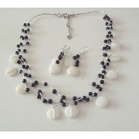 Black & White Jewelry White Shell Black Beads MultiStrand Necklace Set