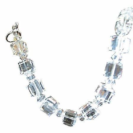 Clear Crystal Cube Bracelet 8mm Cube w/ Bicone 4mm Clear Swarovski Crystals Bracelet
