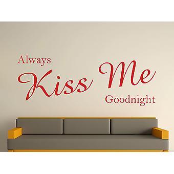 Always Kiss Me Goodnight Wall Art Sticker - Deep Red