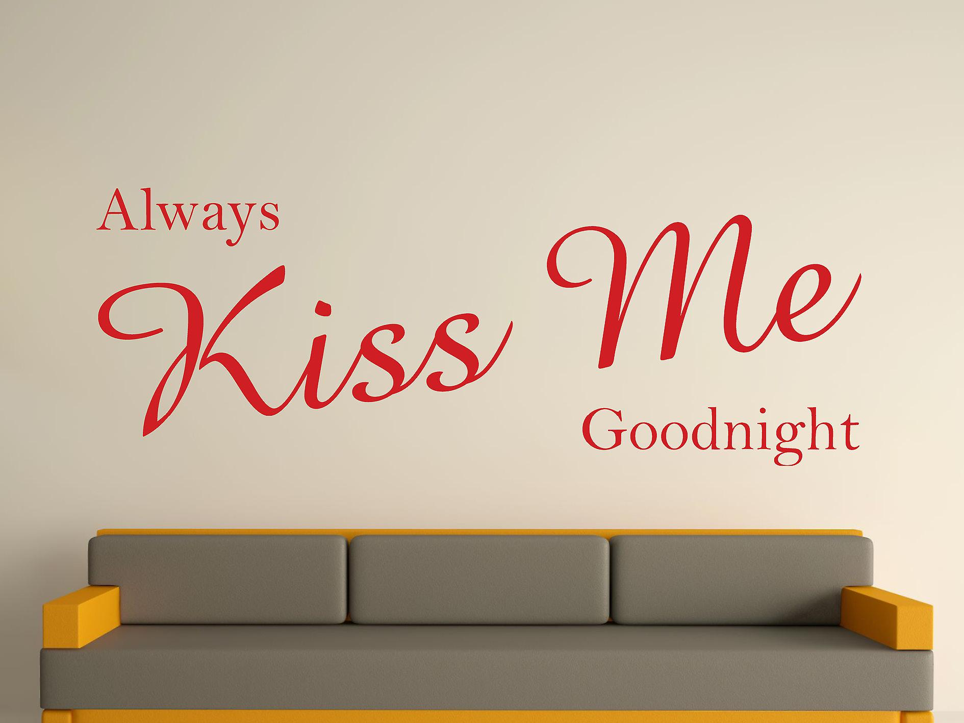Always Kiss Me Goodnight Wall Art Sticker - Deep Red