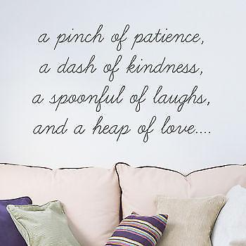 A pinch of patience wall quote