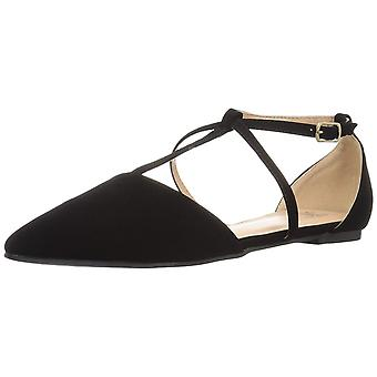 Brinley Co Womens Keiko Closed Toe Ankle Strap Slide Flats