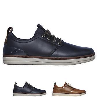 Mens Skechers Heston Rogic couro trabalho inteligente formadores sapatos