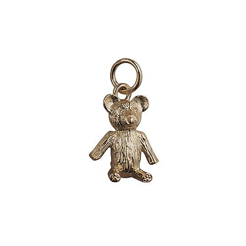 9ct Gold 15x12mm Sitting Teddy Bear Pendant or Charm