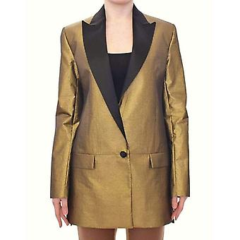 Roberto Fragata Black Gold Silk Coat Jacke lange Blazer--MOM1864709