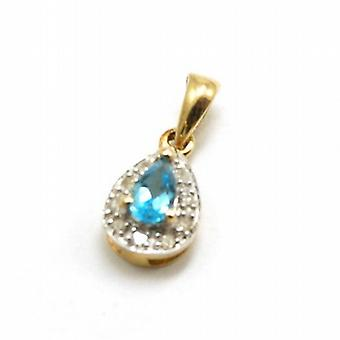 Toc 9ct Yellow Gold Mini Topaz and Diamond Tear Drop Pendant No Chain