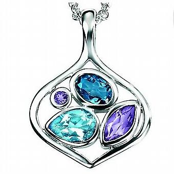 Elements Sterling Silver Blue Topaz and Amethyst Geometric Pendant