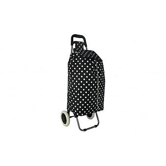 24 Inch  Black Polka Dot Shopping Trolley  47 L Capacity Strong and Light