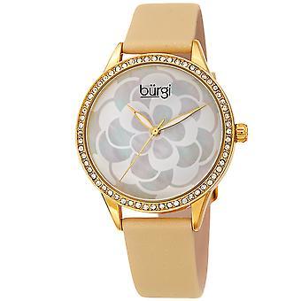 Burgi Women's BUR209 Swarovski Crystal Diamond Sparkle Leather Watch BUR203YG
