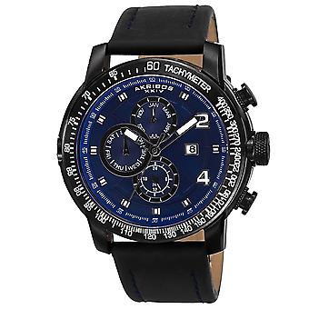 Akirbos XXIV AK743BU Men's Swiss Quartz Tachymeter Leather Blue Strap Watch