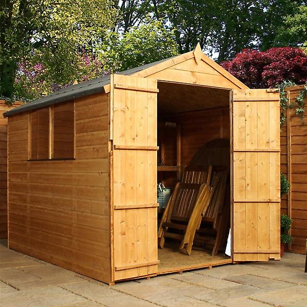 Mercia 8 x 6 Shiplap Traditional Apex Wooden Shed - Double Doors