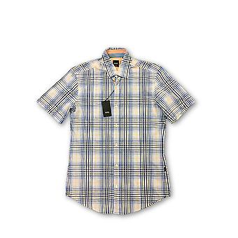 HUGO BO Marco lim Fit hirt in blue and white check