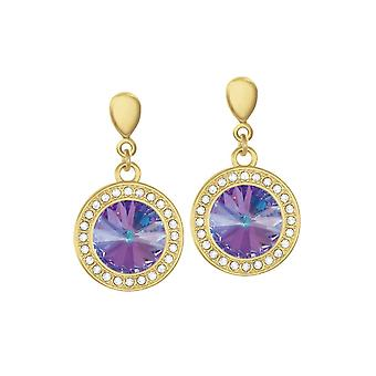 Eternal Collection Viva Vitrail Light Austrian Crystal Gold Tone Drop Pierced Earrings