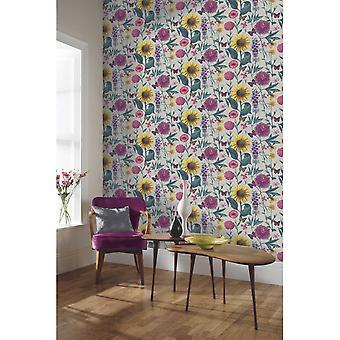 Arthouse sommerhage multi farge blomst solsikke Butterfly Leaf Motif Wallpaper 676204