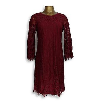 Isaac Mizrahi Live! Dress Lace Split Sleeve Dark Red A309993
