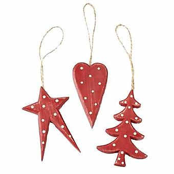 3 Assorted Red Wooden Hanging Decorations