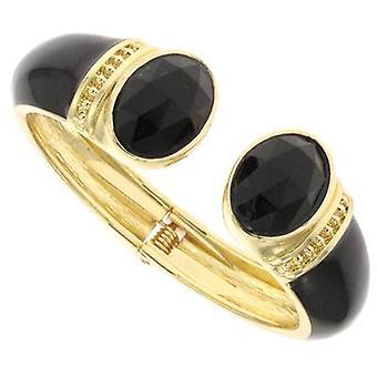 Vintage guld sort emalje og Jet armbånd Cuff armbånd