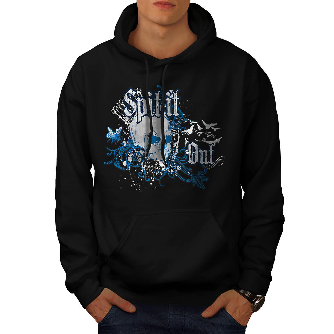 Spit It Out Queen Skull Men Black Hoodie | Wellcoda