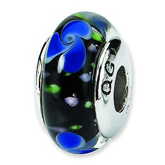 Sterling Silver Polished Antique finish Reflections Blue Murano Glass Bead Charm