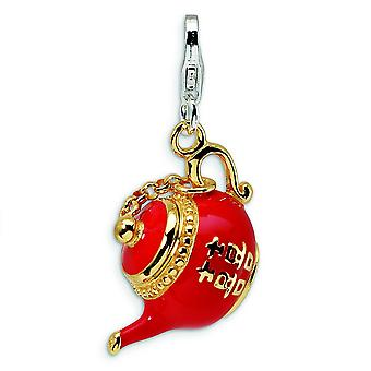 Sterling Silver Moveable Rhodium-plated Fancy Lobster Closure Gold-Flashed Red Enameled Tea Pot With Lobster Clasp Charm