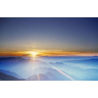 Sunrise over mountain range Poster Print by Panoramic Images (24 x 16)