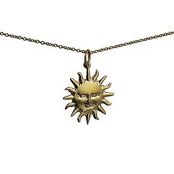 Oro 9ct 21mm pieno sole pendente con un cavo Chain 16 pollici adatto solo per bambini