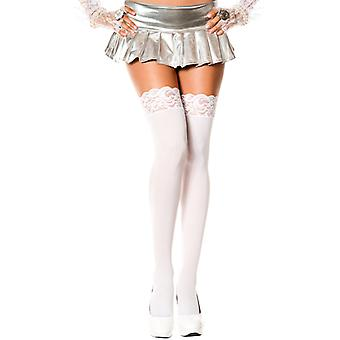 Long Socks With Lace Trim-White