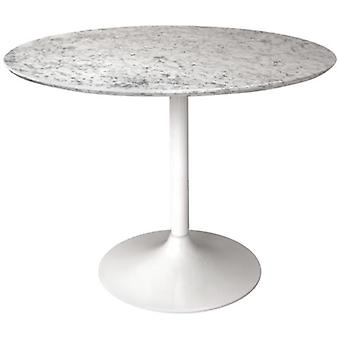Gensifer Marble Or Granite Round Table Kitchen/ Dining Table With White Retro Base: Blue - Granite