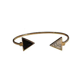 Minimalist chic marble statement cuff armband driehoek zwart-wit