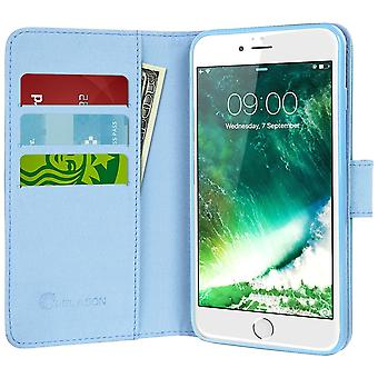 iPhone 7 Case, i-Blason[Wallet Case] Credit Card ID Holders, Apple Iphone 7 -Dal/Blue